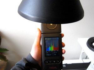 Mätning av spektralfördelningen hos en ljuskälla med ett handhållet mätinstrument.