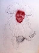'Joder', por le frère. Boli rojo y negro sobre papel.