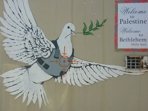 peace dove in bullet proof vest mural againstthewall2