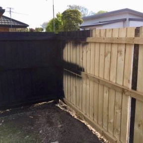 5) Spraying new fence-Ebony black