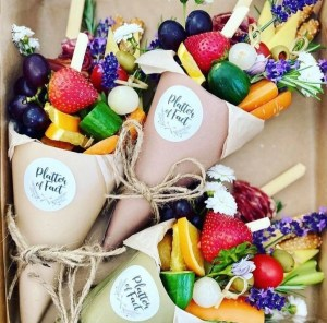 charcuterie cones with fruit