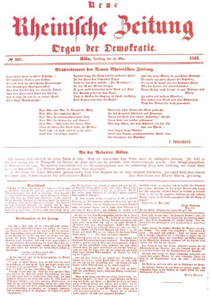 The final issue of the Neue Rheinische Zeitung.