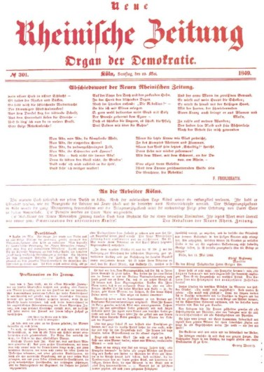 The final issue of the Neue Rheinische Zeitung.