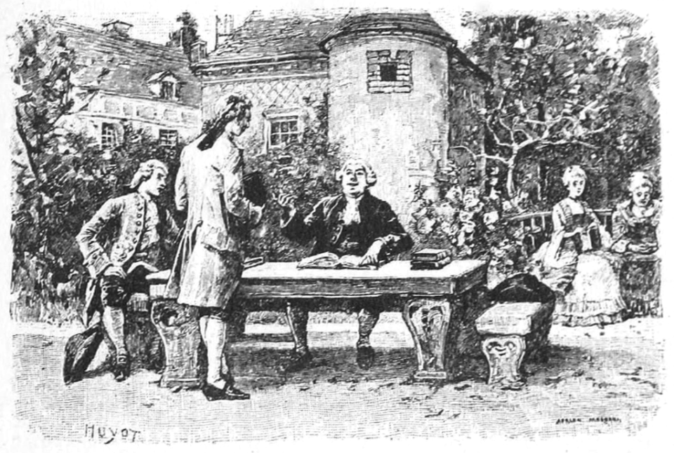 Illustration of Professor Pangloss instructing Candide, by Adrien Moreau (1893).