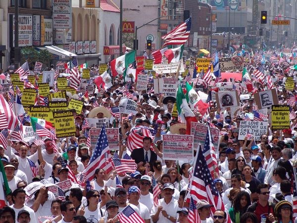 May Day march demanding amnesty for immigrants in Los Angeles, 2006. The 2006 May Day protests, which took place in every major American city, opposed H.R. 4437. That legislation sought to increase penalties for illegally immigrating to the US and to classify undocumented immigrants as felons.
