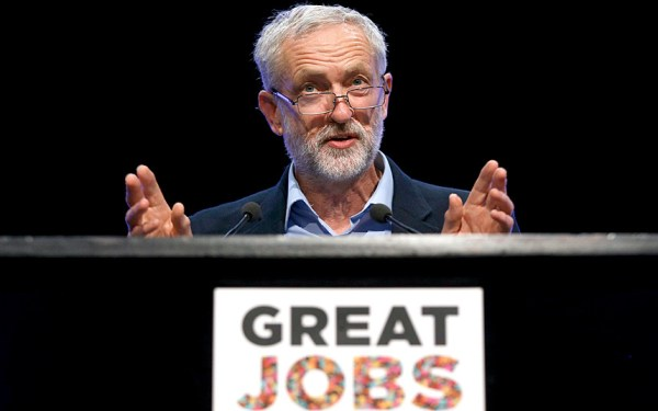 Jeremy Corbyn addresses the Trades Union Congress (TUC) conference in Brighton in 2015.