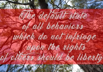 The default state of all behaviors that do not infringe upon the rights of others should be liberty