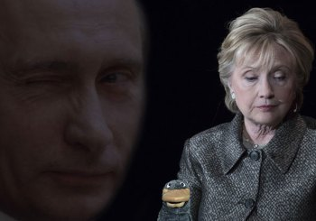 Hillary with Putin looking on with a wink