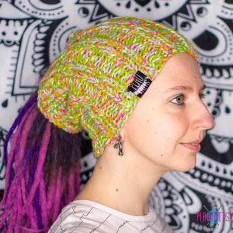 Зелёно-оранжевая вязаная повязка / шапка для дред
