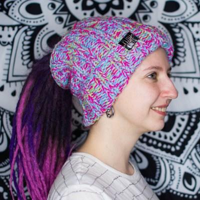 Цветастая вязаная повязка / шапка для дред 28 см