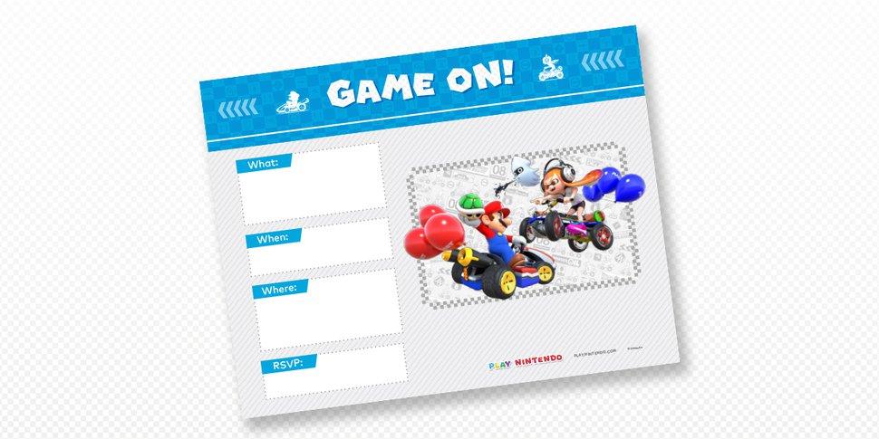 mario kart printable party invitations