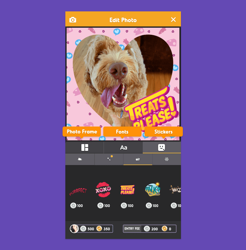 Edit photos with Frames, Text and Stickers