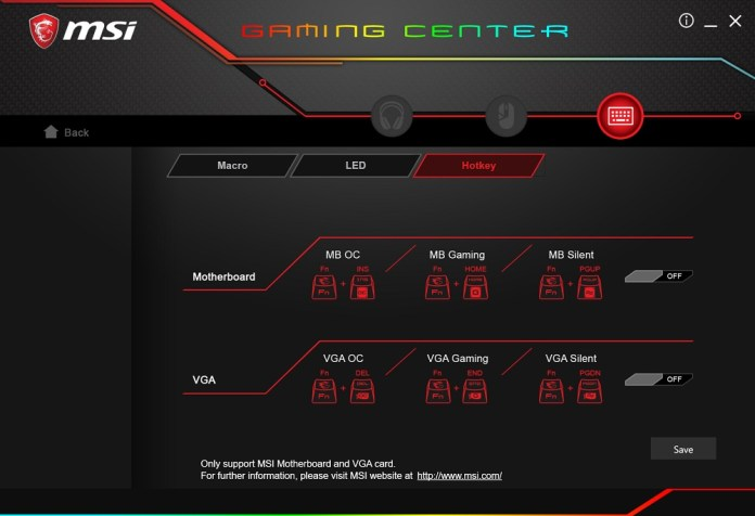 MSI Gaming Center hotkeys