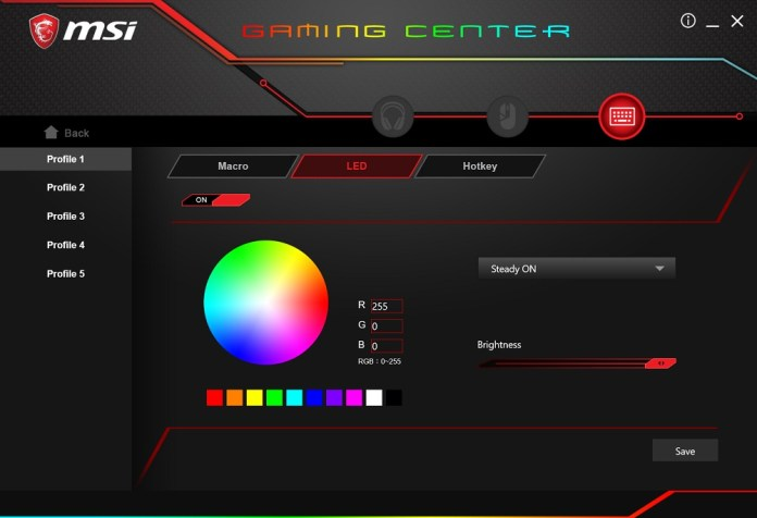 MSI Gaming Center rgb