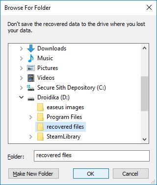 easus file recovery location