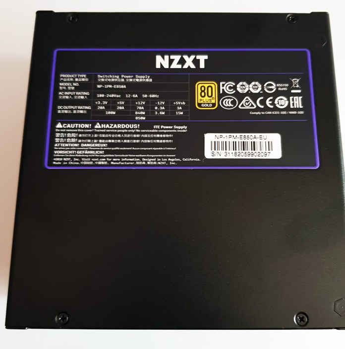 NZXT E850 850W Power Supply Sticker