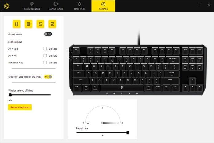 drevo power console keyboard settings