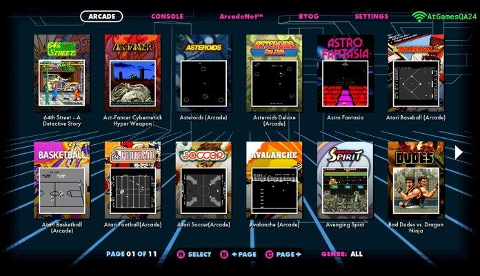 AtGames UI Arcade Game Menu 1000px