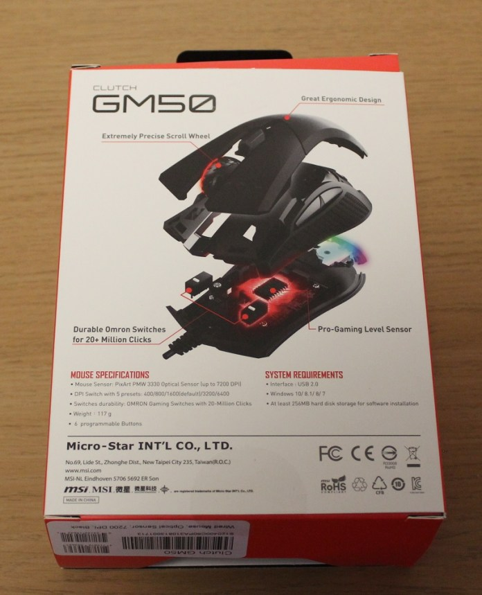 MSI Clutch GM50 Gaming Mouse box back