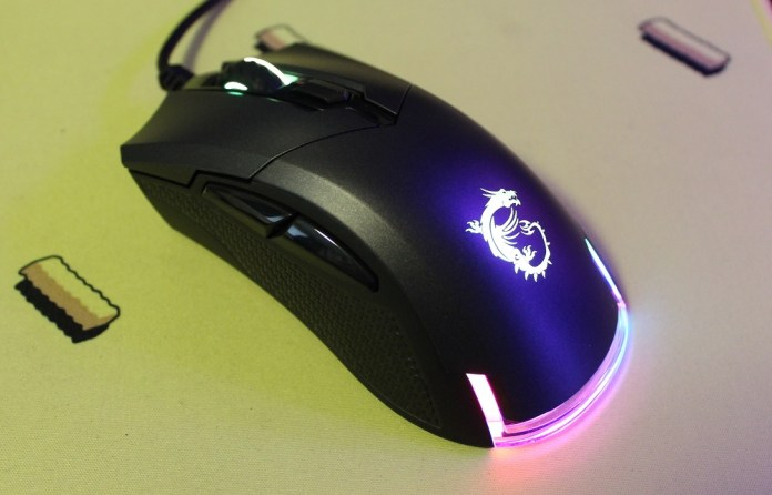 MSI Clutch GM50 Gaming Mouse powered on