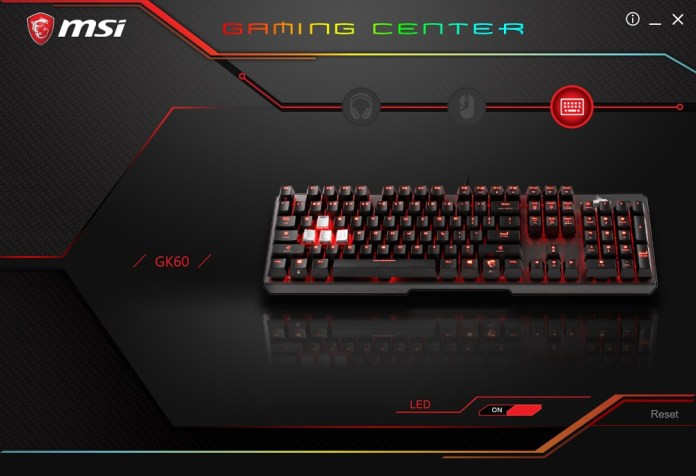 MSI Gaming Center Main Screen GK60
