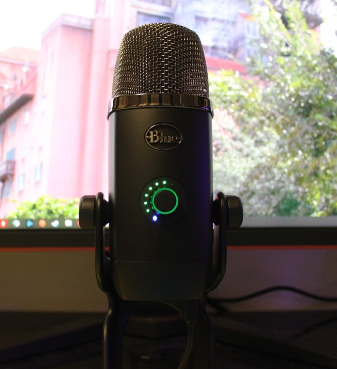 Blue Yeti X Box microphone plugged in