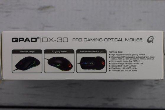 Side of QPAD DX30 box