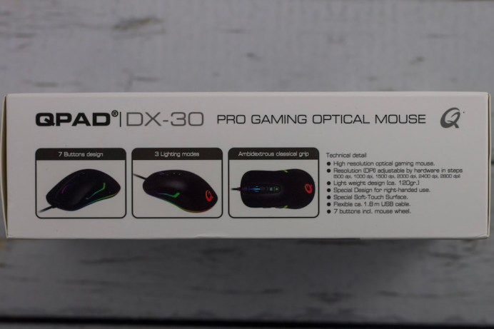 Side of QPAD DX30 box