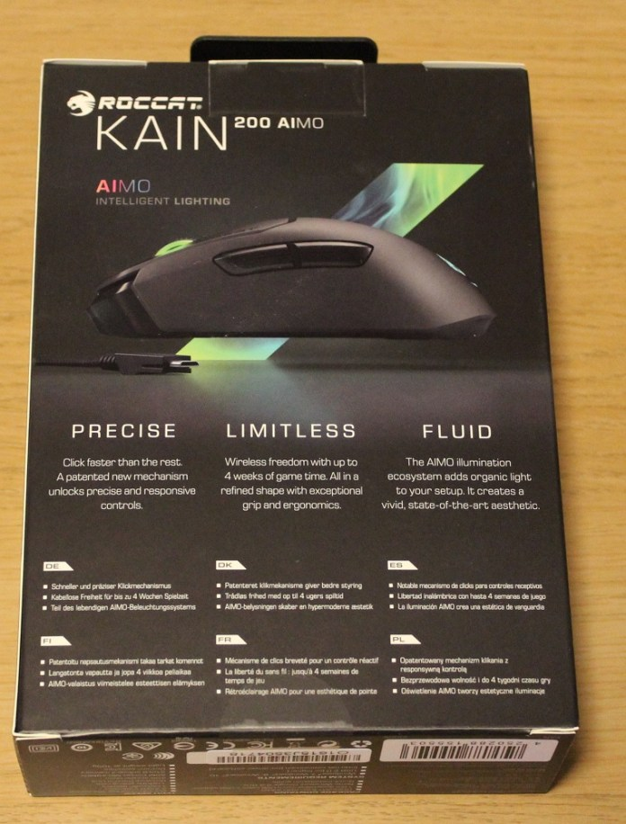 Roccat Kain 200 AIMO Wireless Mouse box bottom