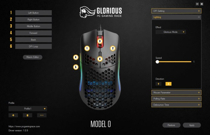 glorious pc gaming mouse model 0 software lighting