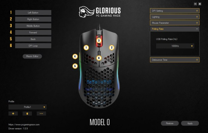 glorious pc gaming mouse model 0 sofware polling rate
