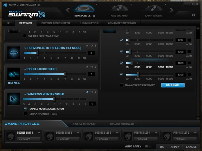Roccat Kone Pure Ultra Swarm settings