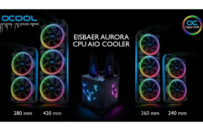 Alphacool's Eisbaer Aurora range, shown illuminated