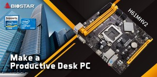 """The H61MHV2 with text saying """"Make a Productive Desk PC"""""""