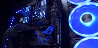 A show system with an ASUS motherboard, Corsair RGB memory and a Corsair liquid cooler showing off the ability to use iCUE with ASUS motherboards