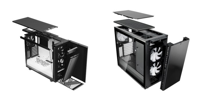 The windowed versions of the Fractal Design Define 7 and Define R6 in exploded view.