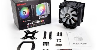 The ETS-T50 AXE Addressable RGB Blaack with box and contents. The cooler comes with a universal backplate, amd bracket, intel bracket, screws, manual, and tube of thermal paste.