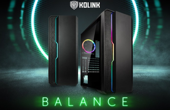 The Kolink Balance front the front and a slight angle. A smooth front panel covers from the right edge reaching two thirds of a way across, then there's a step to a mesh for the rest.
