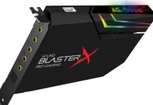 Creative Sound BlasterX AE-5 Plus Showing RGB Effects