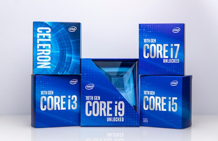 The Intel 10th generation desktop comet lake family, showing celeron, i3, i5, i7 and i9 boxes. The i9-10900K box is more sensible this time than the football the 9900K came in.