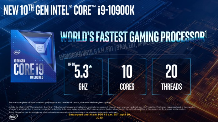 The i9-10900K headline numbers - 5.3GHz, 10 cores and 20 threads