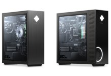 HP Omen 25L and 30L next to one another. The 30L has an extended front with much larger vents.