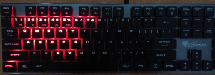 COD mode: 1-7, WASD, shift and ctrl are illuminated along with q, e r and t on the top row, f and g on the middle row and c and v on the bottom row.
