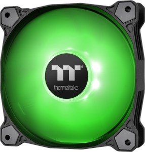 Thermaltake Pure A12 120mm fan with Green LEDs. The frame is round with soft anti-vibration pads on the corners.