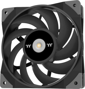Thermaltake TOUGHFAN 12, with 9 thin blades. They look sharp. The frame is squareish with rubber anti-vibration corners.