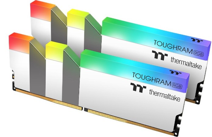 A thermaltake toughram rgb 32GB or 64GB kit, with two sticks. There are two deep notches in the top of the heatspreader, offset to one side, which extend down the cooler with cold bare metal rather than the matte coating of the rest of the stick.