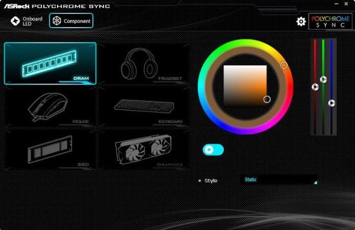 Screenshot of ASRock POlychrome on an X570 Taichi showing RGB memory control