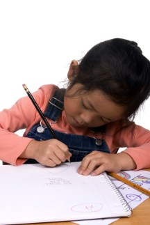 Young child doing schoolwork