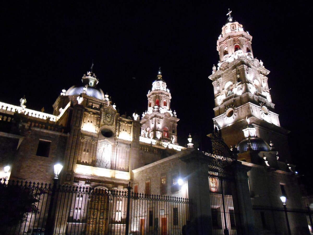 Cathedral in Morelia Michoacan at night