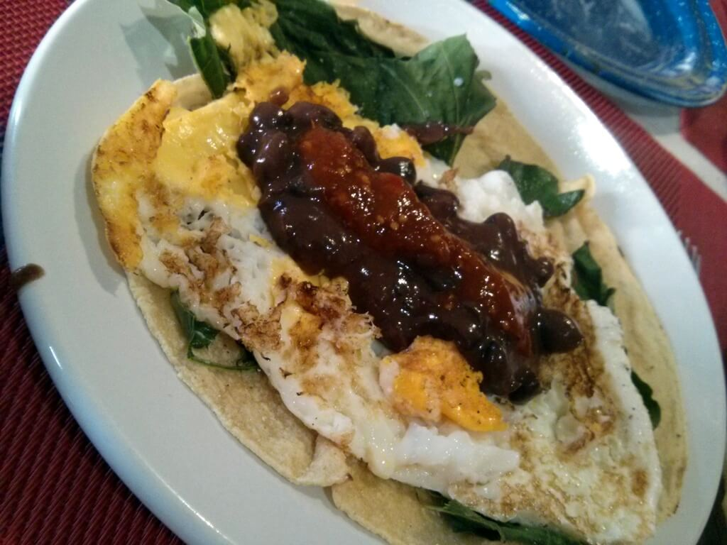 Egg tacos with hoja santa in Oaxaca